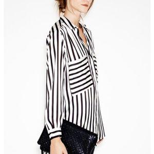 Zara Basic Black + White Stripe Top - S